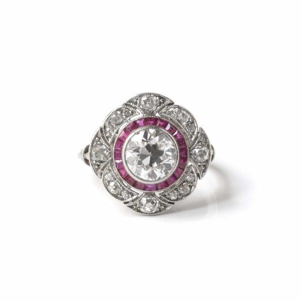 bague platine diamants rubis années 20